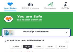 vaccination status on Aarogya Setu